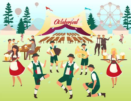 Oktoberfest flat vector illustration. Beer tent. Folk music and dances. Beer Festival. Visitors with cups of alcohol dancing, have fun. Waiters in national costumes. Volksfest cartoon characters 向量圖像
