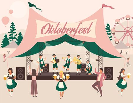 Oktoberfest flat vector illustration. Beer Festival, october fest concert. Folk performance in tent. Music and dances. People in national costumes carry beer. Volksfest cartoon characters 向量圖像