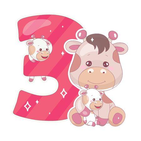 Lindo número tres con ilustración de dibujos animados de jirafa bebé. Símbolo de fuente divertida de matemáticas escolares y carácter animal kawaii. Etiqueta engomada del libro de recuerdos para niños. Niños, 3 años, cumpleaños, y, aniversario, número clipart
