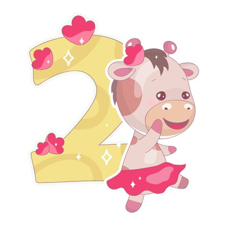 Cute two number with baby giraffe cartoon illustration. School math funny font symbol and kawaii animal character. Kids scrapbook sticker. Children 2 years old birthday and anniversary number clipart Foto de archivo - 130419253
