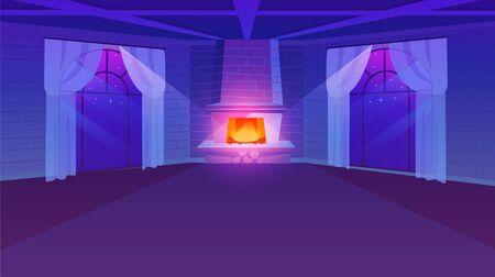 Habitación vacía con chimenea ilustración vectorial plana. Ventanas panorámicas de estilo retro con cortinas ligeras. Paredes de ladrillo estilizado. Diseño de finca de lujo en tonos violetas. Vista nocturna del apartamento