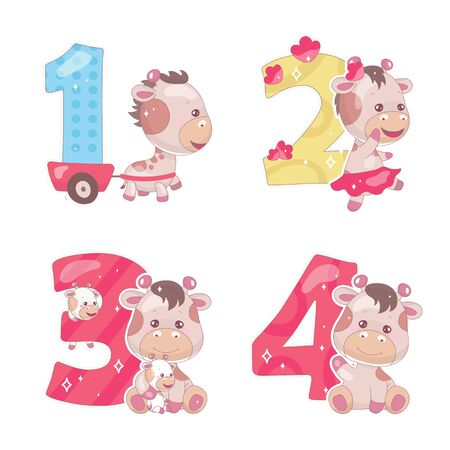 Cute numbers with baby giraffe cartoon illustrations set. School math funny font symbols and kawaii animals characters. Kids scrapbook stickers. Children birthday and anniversary numbers collection Foto de archivo - 130393736