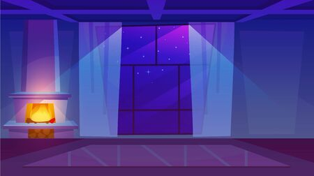 Fireplace in empty room flat vector illustration. Luxury house interior with panoramic windows and lightweight curtains. Burning firewood shedding soft light in dark living room. Stars in sky outdoors Vektoros illusztráció