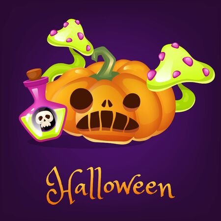 Spooky pumpkin cartoon vector illustration. Halloween lantern with potion and mushroom clipart with lettering. Scary realistic orange carved squash sticker, patch. Autumn holiday social media post Vector Illustratie