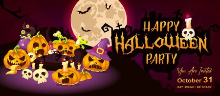 Happy halloween event flat banner template. Autumn holiday night party invitation card design layout. Spooky cartoon background with scary pumpkins, moon and lettering. Helloween horizontal poster