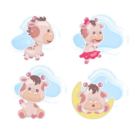 Cute giraffe kawaii cartoon vector characters set. Adorable and funny dreaming animal with clouds isolated sticker, patch, kids book illustration. Anime happy baby giraffe emoji on white background Foto de archivo - 130393884
