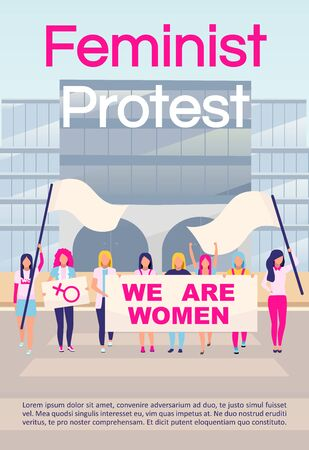 Feminist protest brochure template. Girl power, feminism social movement. Flyer, booklet, leaflet concept with flat illustrations. Vector page layout for magazine. advertising invitation with text Ilustrace