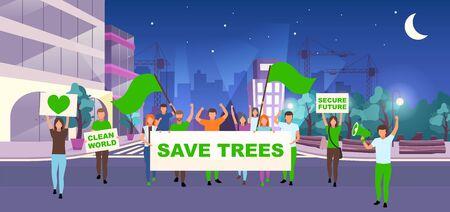 Enregistrer l'illustration vectorielle plane de l'événement de protestation sociale des arbres. Mouvement de protection de l'environnement, concept d'activisme. Manifestants, militants avec des pancartes, banderoles sur les personnages de dessins animés de la rue nocturne Vecteurs