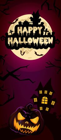 Happy Halloween vertical banner template. Scary, spooky pumpkin with house and moon illustration. Autumn holiday night creepy background with lettering. Helloween creepy poster, greeting card layout