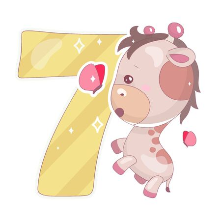Cute seven number with baby giraffe cartoon illustration. School math funny font symbol and kawaii animal character. Kids scrapbook sticker Children 7 years old birthday and anniversary number clipart Foto de archivo - 130419268