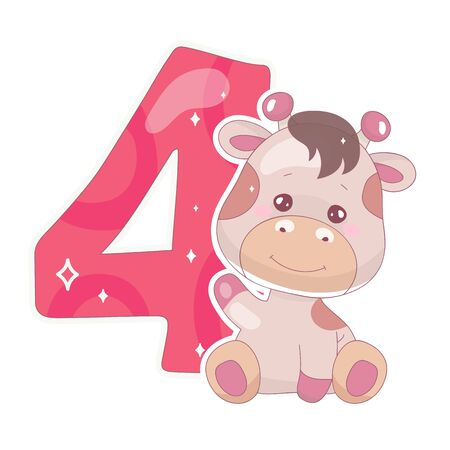 Cute four number with baby giraffe cartoon illustration. School math funny font symbol and kawaii animal character. Kids scrapbook sticker. Children 4 years old birthday and anniversary number clipart Foto de archivo - 130394099