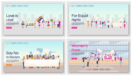 Equal rights protests landing page vector templates set. Social movements against racial and gender inequality website interface with flat illustrations. Homepage layout, web banner, webpage concept