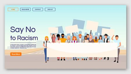Say no to racism landing page vector template. Protest against racial inequality and discrimination website interface with flat illustrations. Homepage layout, web banner, webpage cartoon concept