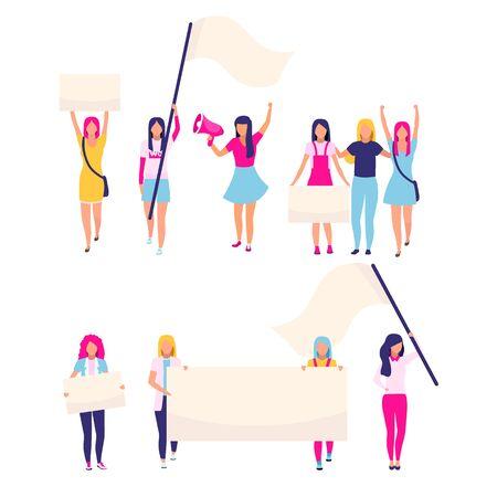 Manifestantes femeninas con pancartas en blanco personajes vectoriales planos. Activistas feministas, protección de los derechos de las mujeres, participantes de protestas por la igualdad de género. Ilustraciones de feminism, women empowerment cartoon