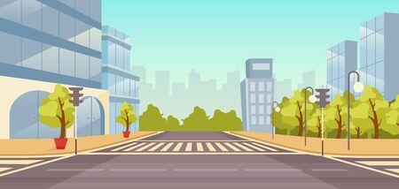 Stad straat platte vectorillustratie. Stadsgezicht zonder mensen. Stedelijke snelweg met wolkenkrabbers, parken cartoon achtergrond. Stadsgebouwen en wegenkruising met zebrapad, verkeerslichtenachtergrond Vector Illustratie