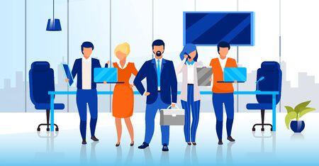 Illustration vectorielle plane de l'équipe professionnelle des affaires. Personnages de dessins animés d'hommes d'affaires et de femmes d'affaires confiants. Personnel de l'entreprise prospère, personnel de l'entreprise. Employés de bureau, conseil d'administration Vecteurs