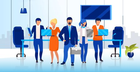 Professional business team flat vector illustration. Confident businessmen and businesswomen cartoon characters. Successful company staff, corporate personnel. Office workers, directors board Çizim
