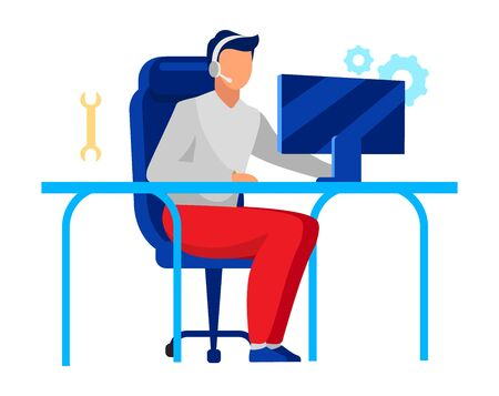 Flache Vektorillustration des technischen Support-Betreibers. Firmenangestellter, Techniker lokalisierte Zeichentrickfilm-Figur auf weißem Hintergrund. Callcenter, Mitarbeiter der IT-Abteilung mit Headset, Computerwartung Vektorgrafik