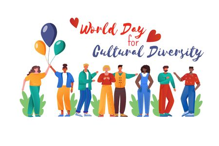 World day for cultural diversity flat poster vector template. International holiday. Multiracial people isolated cartoon characters on white. Banner, brochure, leaflet design layout, place for text Vettoriali