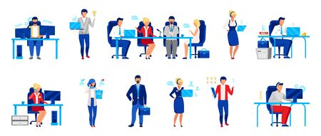 Business company staff flat vector illustrations set. Programmer, directors board, analyst. Workers isolated cartoon characters. Financier, accountant, HR manager, and customer support operator Çizim