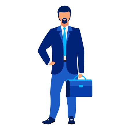 Businessman, office worker flat vector illustration. Company employee, CEO isolated cartoon character on white background. Successful entrepreneur, executive manager, lawyer, real estate agent Illustration