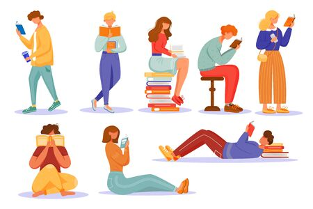 Books reading flat vector illustrations set. School education. Students studying textbooks. Keen readers. Happy world book day. Men and women read literature isolated cartoon characters Ilustrace