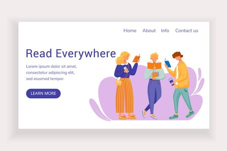 Read everywhere landing page vector template. Bookshop website interface idea with flat illustrations. Library homepage layout. Reading people, students web banner, webpage cartoon concept