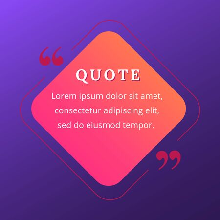 Quote blank frame vector template. Pink and orange gradient speech bubble. Quotation, citation text box design. Rhombus with rounded edges empty textbox background for message, comment, note