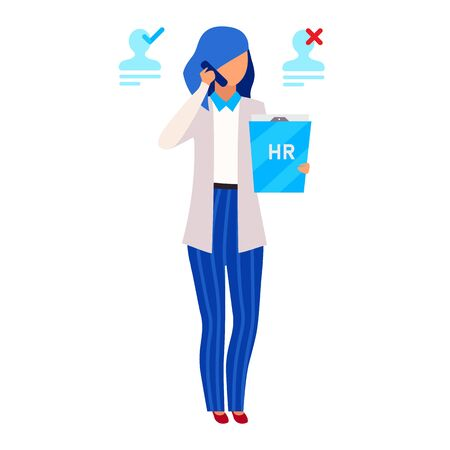 HR manager, recruiter flat vector illustration. Recruitment agency worker isolated cartoon character on white background. Human resources department chief, employer, headhunter choosing recruits Vetores