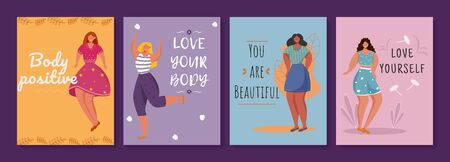 Body positive posters vector template set. Feminism movement. Brochure, cover, booklet page concept design with flat illustrations. Overweight women. Advertising flyer, leaflet, banner layout idea Illustration