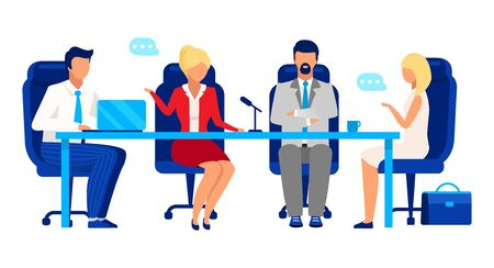 Directors board, shareholder meeting flat vector illustration. Professional businessmen and businesswomen cartoon characters. Colleagues, partners discussing business development strategy Illustration