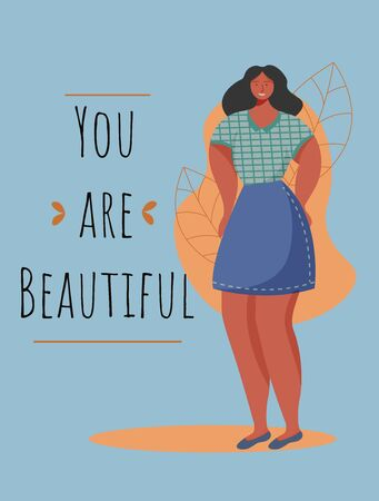 You are beautiful poster vector template. Feminism movement. Brochure, cover, booklet page concept design with flat illustrations. Overweight african woman. Advertising flyer, banner layout idea
