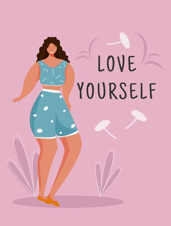Love yourself poster vector template. Feminism movement. Brochure, cover, booklet page concept design with flat illustrations. Body positive. Advertising flyer, leaflet, banner layout idea