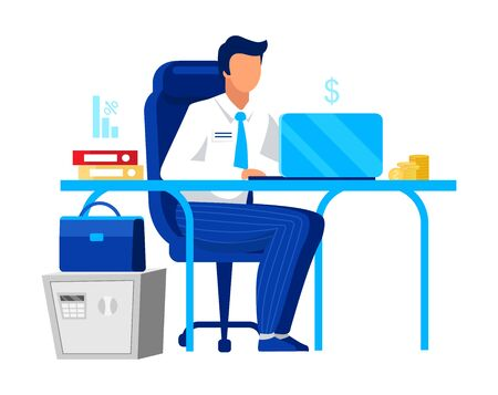 Office worker, clerk flat vector illustration. Company employee, economist isolated cartoon character on white background. Financial manager, accountant, auditor, financier working with laptop