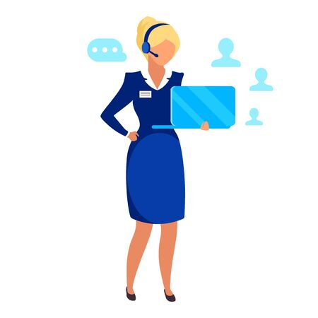 Female entrepreneur flat vector illustration. Successful businesswoman, telemarketing agent isolated cartoon character on white background. HR manager, recruiter, call center operator with headset Vectores