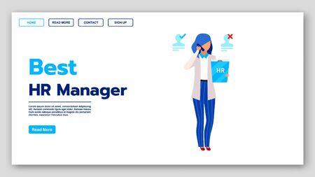 Best HR manager landing page vector template. Employment agency website interface idea with flat illustrations. Recruitment homepage layout. Human resources management service web banner concept Иллюстрация