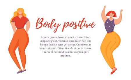 Body positive flat poster vector template. Overweight women isolated cartoon characters on white. Feminism movement. Banner, brochure page, leaflet design layout with place for text
