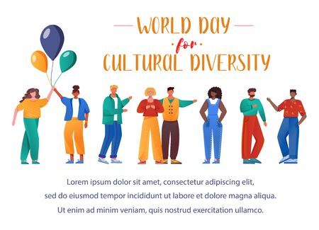 World day for cultural diversity flat poster vector template. Multiracial people isolated cartoon characters on white. International event. Banner, brochure page, leaflet design layout, place for text Illusztráció