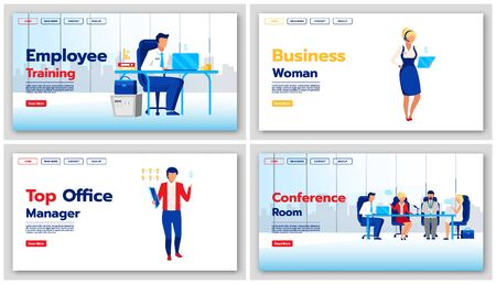 Corporate lifestyle landing page vector templates set. Business website interface idea with flat illustrations. Employee training homepage layout. Office manager web banner, webpage cartoon concept