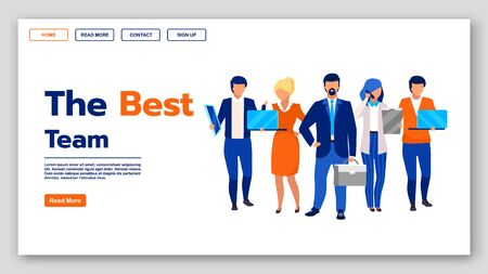 Best team landing page vector template. Business company website interface idea with flat illustrations. Co working courses homepage layout. HR management web banner, webpage cartoon concept Иллюстрация