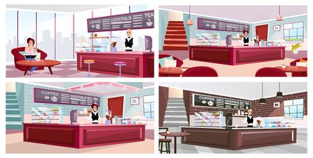 Cafe interior flat vector illustrations set. Coffeehouse visitor and barista at work cartoon characters. Trendy wooden furniture, vintage brick walls with panoramic windows. Professional bar equipment