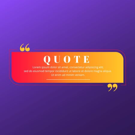 Quote blank frame vector template. Red, orange and yellow gradient speech bubble. Quotation, citation text box design. Rectangle with rounded and sharp edges empty textbox background for message, note Vektoros illusztráció