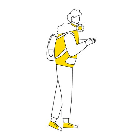 Adolescent boy flat contour vector illustration. Young music lover man isolated cartoon outline character on white background. Teenager with backpack and headphones in sportswear simple drawing