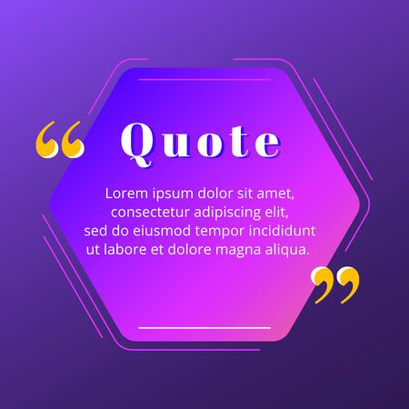 Quote blank frame vector template. Blue and purple gradient speech bubble. Quotation, citation text box design. Hexagon with rounded edges empty textbox background for message, comment, note Stock Illustratie