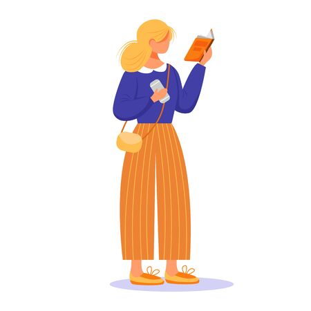 Girl reading book flat vector illustration. Blond lady passionate by publication. Young caucasian woman standing, holding textbook and phone isolated cartoon character on white background 일러스트