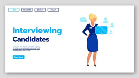 Interviewing candidates landing page vector template. Recruitment company website interface idea with flat illustrations. Employment agency homepage layout. Headhunting web banner cartoon concept