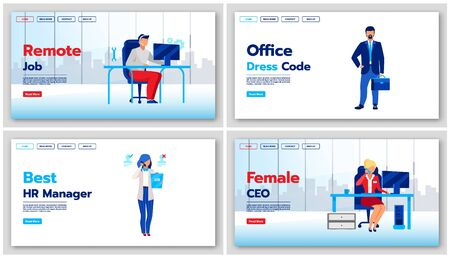 Business landing page vector templates set. Office dress code website interface idea with flat illustrations. Best HR manager homepage layout. Remote job web banner, webpage cartoon concept
