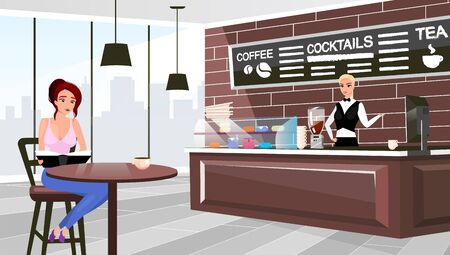 Coffee shop visitor sitting at table flat vector illustration. Cartoon barista at counter waiting for client order. Trendy urban restaurant interior. Stylish chalkboard with cocktails, tea menu Ilustrace