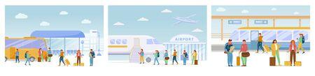 Conjunto de ilustraciones vectoriales planas de viaje. Parada de autobús, aeropuerto, estación de tren. Viaje de vacaciones. Viaje con traslados. Viaje. La gente se mueve en diferentes modos de transporte personajes de dibujos animados.