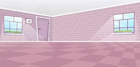 Empty dining room interior flat vector illustration. Cartoon door and windows with sun rays. Sunlit hall with decorative vintage brick walls and painting. Checkered floor in pastel pink color palette